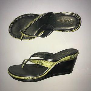 Cole Haan Nike Air Yellow Snakeskin Silver Sandal